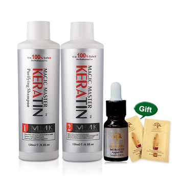 120ml Magic Master Keratin Hair Treatment+120ml Purifying Shampoo Straighten and Repair Frzzy Hair Get Free Argan Oil