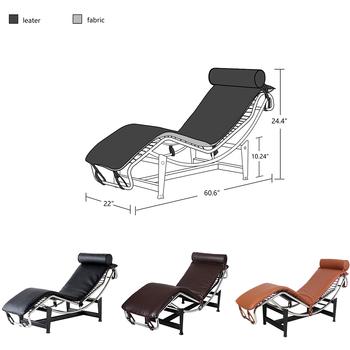 Wygodne skórzane krzesło LC4 leżak krzesło dom umeblowanie kryty odkryty plaża leżaki leżak salon krzesło tanie i dobre opinie CN (pochodzenie) Nowoczesne Meble do salonu 154*56*62CM LC806C Minimalistyczny nowoczesny Szezlong Meble do domu Metal Stainessel