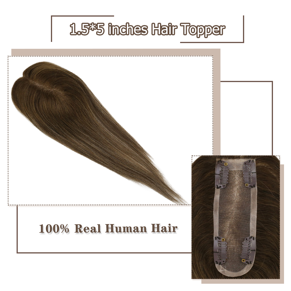 Moresoo Hair Toppers For Women Machine Remy Human Brazilian Hair Toppers With Clips Toupee 1.5*5 Inch 8-18 Inch #4/27/4 Brown