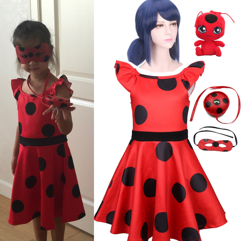 Anime Girls Dresses Fantasia Spandex Ladybug Clothes Kid Christmas Dress Lady Bug Zentai Suit Halloween Cosplay Costume For Girl