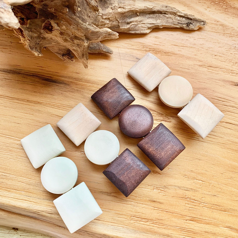 AOMU Korea Vintage Round Square Heart Hairpin Handmade Wood Hair Clips Hairclip Hair Accessorie For Women Girls Jewelry Gifts