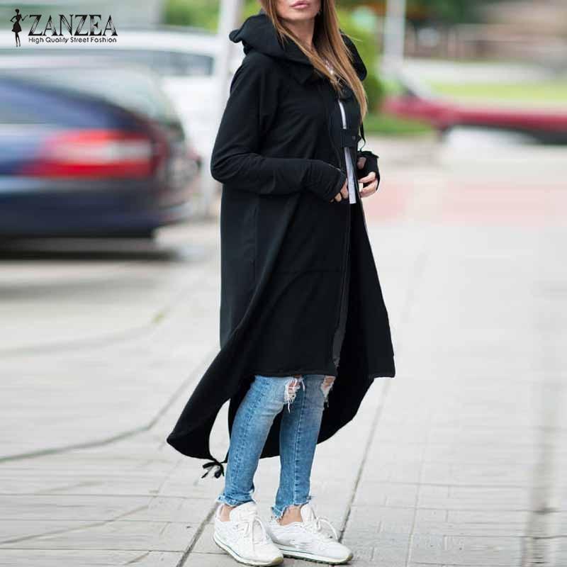 Fashion Hooded Sweatshirt 2019 ZANZEA Autumn Women's Buckle Coat Hoodies Long Sleeve Dress Plus Size Zipper Irregular Outerwear