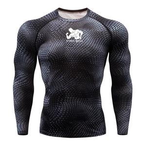 Image 5 - טי כושר ריצת חולצת גברים דחיסת גרביונים כושר MMA ארוך שרוול פיתוח גוף חולצה כושר גברים ריצה חולצת טי