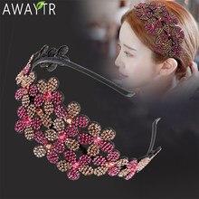 Barok geniş çiçek kristal saç bantları kadınlar için taklidi kafa bandı Vintage saç Hoop Bow esneklik Hairbands saç aksesuarları