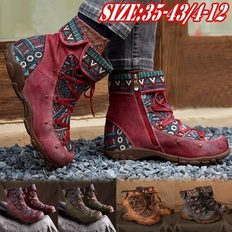 Women Boots New Ankle Boots Female Bohemia Leather Boots Women Shoes Autumn Winter Boots Lace-up Botas Mujer Plus Size 43