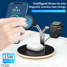 Carregador magnético sem fio seguro 3 em 1 qi 15w estação de carregamento rápido iphone 12 pro max carregadores para apple watch airpods pro