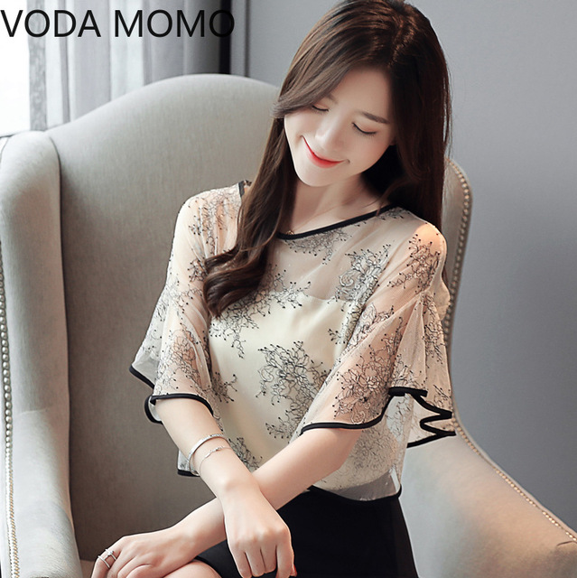 Summer New Fairy Lace Stitching Women shirt Butterfly sleeve embroidery Tops Casual Crochet Hollow out blouse Plus size 2