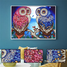 цена на 5D Diamond Painting Shaped Diamond Animal Owl Flower Diamond Embroidery Sticker Mosaic Home Decor