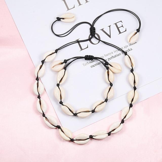 Original Design Shells Necklace Bracelet One Set Natural Seashells Knit Chain Rope Girl Choker Bracelets Jewelry Gift Adjustable 2