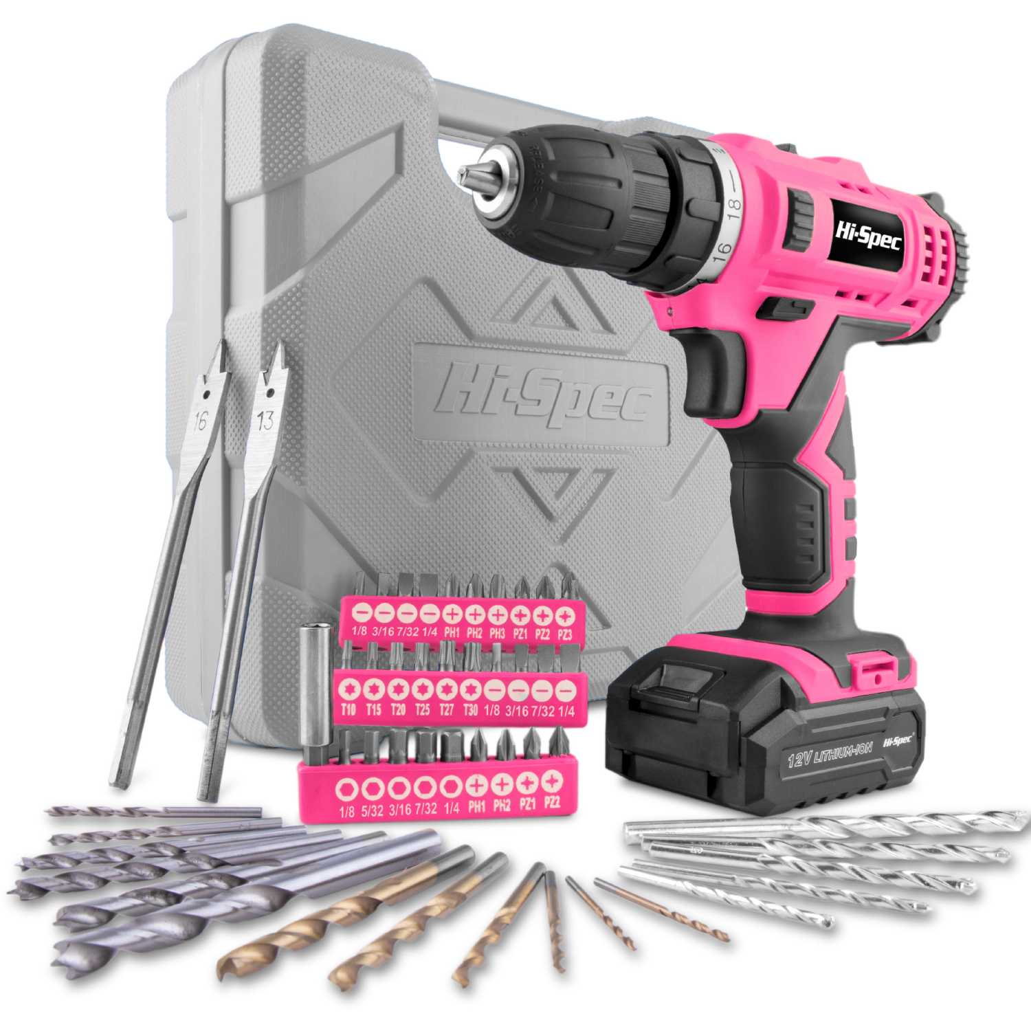 Hi-Spec 50pc 12V 1300mAh Li-ion Cordless Screwdriver Drill Driver Electric Screwdriver Pink DIY Power Tools for Gril Lady Women