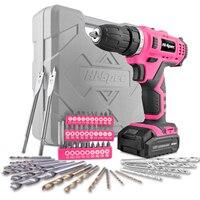 Hi Spec 50pc 12V 1300mAh Li ion Cordless Screwdriver Drill Driver Electric Screwdriver Pink DIY Power Tools for Gril Lady Women