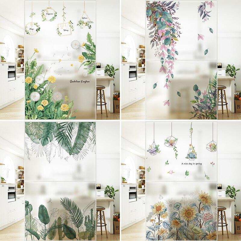 Film autocollant en verre givré électrostatique sans colle, fleur verte, plante, salle de bain, fenêtre, grille, porte coulissante