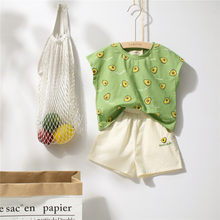 Tonytaobaby Children Summer Avocado Green Pure Cotton Short-sleeved Set Boutique Kids Clothing