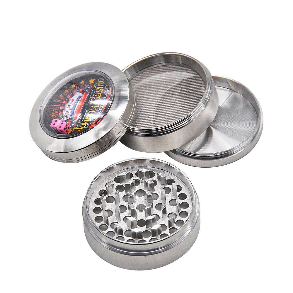 Zinc Alloy Smoking Herb Grinders With Dice Game Window 63MM 4 Piece Metal Tobacco Grinder Pollen Spice Crucher 4