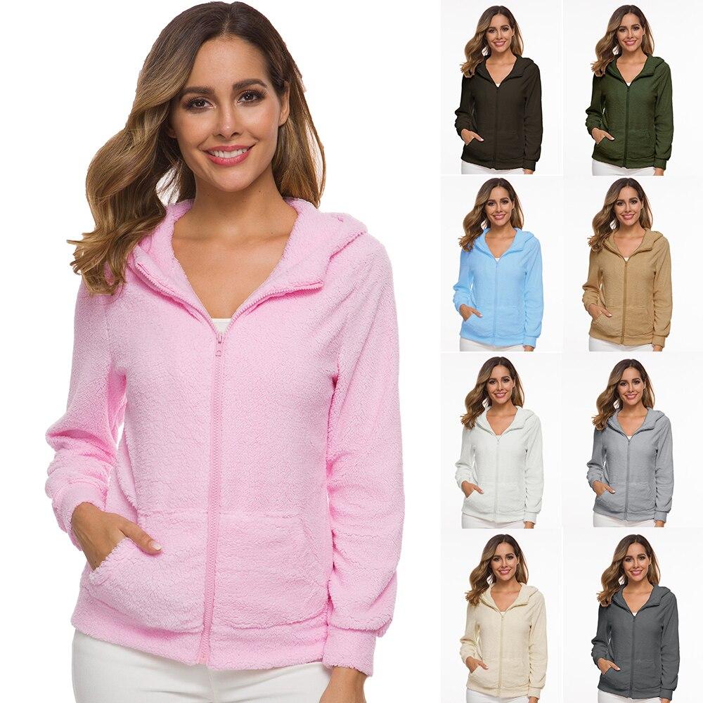 2019 Autumn Winter Fleece Sweater Women Oversized 5XL Hooded Sweaters Warm Zipper Cardigan Women Winter Coat Tops Pull Femme