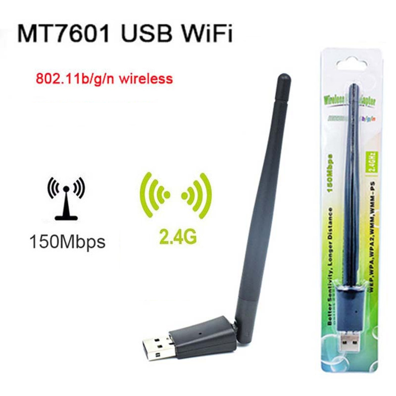 MT7601 Chip Wireless Network Card 2DB Large Antenna Set-top Box External Wifi USB Signal Receiving Transmitter 150Mbps