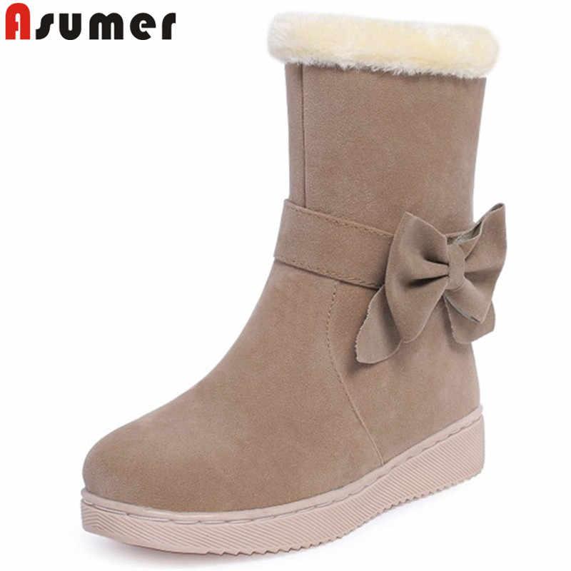ASUMER boyutu 32-40 moda yarım çizmeler kadın yuvarlak ayak sıcak tutmak kış çizmeler düz ayakkabı bayanlar kar botları 2020 yeni