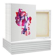 Tableaux d'art blanc avec peinture acrylique, accessoire de dessin sur toile, bois et coton oeuvre, 30*40 cm, 6 pièces par ensemble,