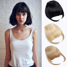 Xuangdong clipe de franja sintética, extensão de cabelo com fibra sintética de alta temperatura, preto, marrom, vermelho