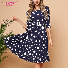 S.FLAVOR Spring Fashion Polka Dot Pleated Dress Three Quarter Sleeve O Neck Women Casual Dress Elegant Slim A line Dress Femme