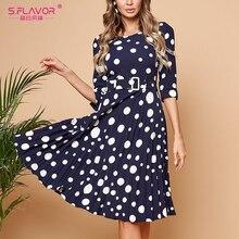 S. Saveur printemps mode à pois robe plissée trois quarts manches O cou femmes tenue décontractée élégant mince robe a ligne Femme