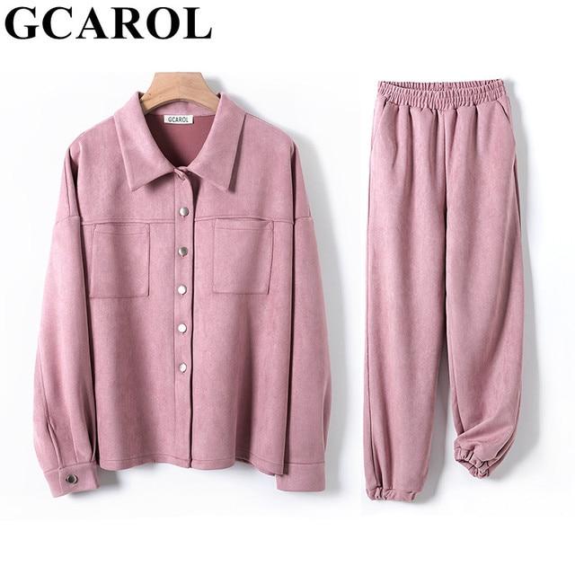 GCAROL Women tracksuits Velvet Jacket And Pants Drop Shoulder Oversized Coat Single-Breasted Elastic Waist Overalls Cargo M,L 4