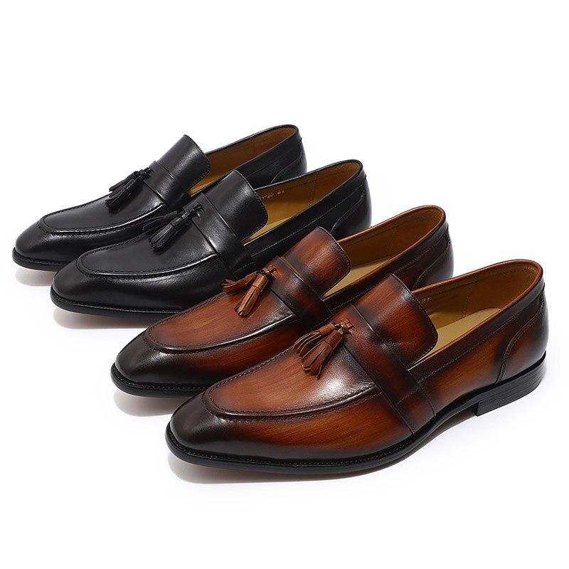 FELIX CHU peint à la main hommes marron noir gland mocassins en cuir véritable sans lacet hommes robe de mariée chaussures décontracté Business chaussure-in Chaussures décontractées homme from Chaussures    3