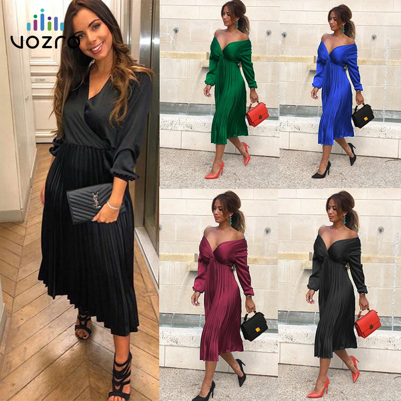 VOZRO 2019 Suit-dress Long Sleeve V Lead Fold Pleated Solid Color Concise Sexy Winter Maxi Red Dress Women Vestido Dresses
