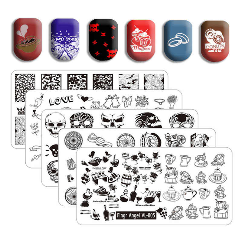 Jari Angel Nail Art Stamping Piring 6*12 Cm Stempel Gambar Piring Mahkota Indah Pola Kupu-kupu Kuku Pers Manikur alat