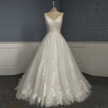 Glitter Tulle A Line Wedding Dress V Neck Straps Open Back Lace Appliques Bling Bling Bridal Gown