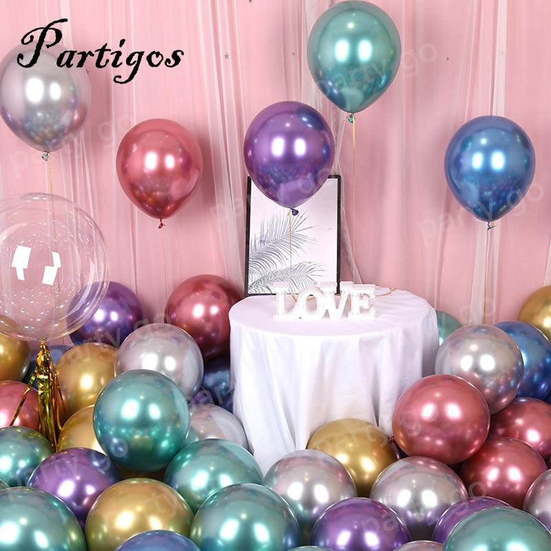 100/200pcs 5/10inch New Chrome Metallic Latex Balloons Inflatable Globos Helium Balloon Birthday Party Decorations Kids New Year