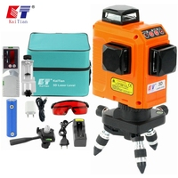 KaiTian Red 12Lines 3D Laser Level Self Leveling 360 Laser Bracket Horizontal & Vertical Cross Powerful Outdoor can use Detector