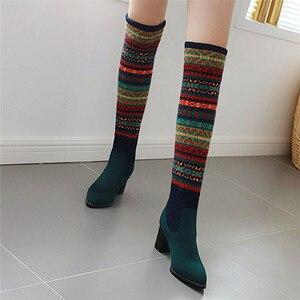 Image 4 - FEDONAS مختلط الألوان الجوارب أحذية النساء فوق حذاء برقبة للركبة حجم كبير أحذية ذات كعب عالي امرأة الخريف الشتاء الدافئة طويلة الأحذية