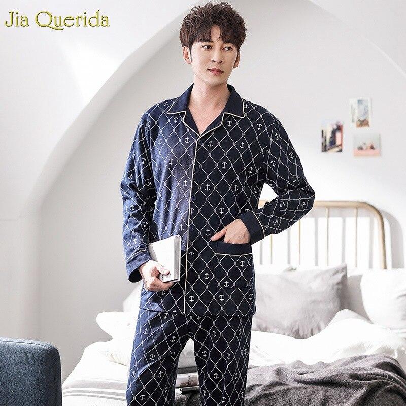 Sleeping Clothes 100% Cotton Leisure Long Sleeves Panst Wide Leg Mens Pjs Lougewear Nightwear Elegant Mens Cardigan Pajamas Set
