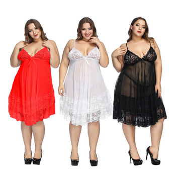 6XL Sexy Women Plus Lingerie Sleepwear Ladies Sling Nightgown Lace Bowknot Nightwear Mesh Babydoll Night Dress Set plus mesh panel lace dress