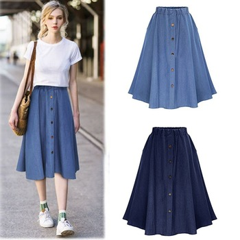 Women New Arrival Autumn Solid Color Casual Knee Harajuku Skirts High Waist Single Breasted Denim Skirt girls single breasted denim skirt