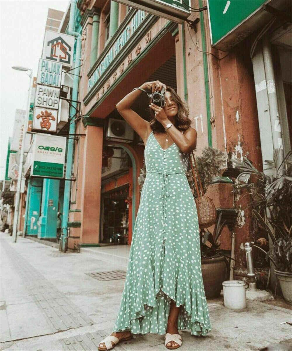 متوفر للبيع في المخزون المحلي فستان بوهو بولكا دوت مثير بقصة ضيقة وأكمام قصيرة وفتحة رقبة دائرية فستان صيفي قصير مناسب للشاطئ
