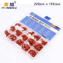 цена на 225pcs O Ring Silicone rubber 15 Sizes VMQ Silicon red ORing Elasticity Sealing ORings Washer Gasket Ring Assortment Set Kit Box