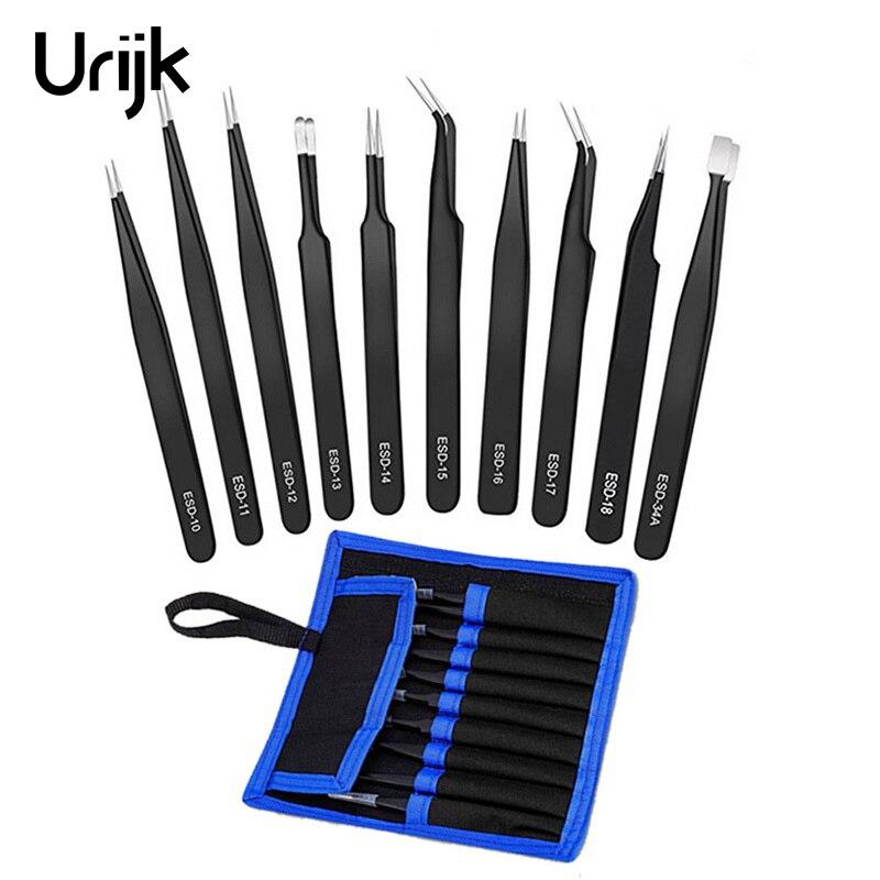 6/10Pcs Tweezers Tools Kit ESD Precision Antistatic Tip Curved Straight Stainless Steel Tweezers Nipper Repair Tool New