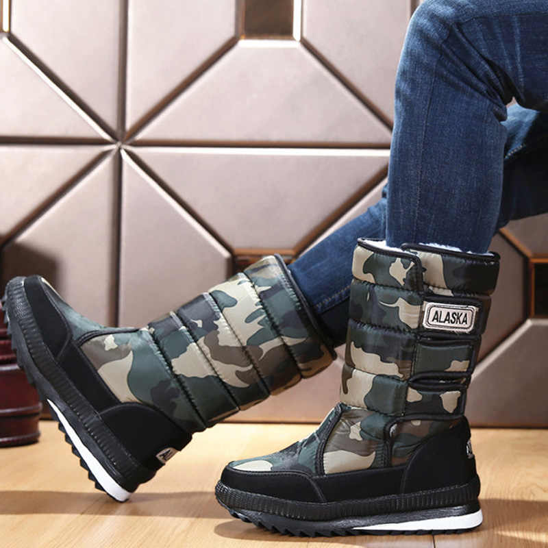 Men Boots Plush Warm Snow Boots Winter Shoes Waterproof Male Shoes Adult Winter Boots Men Shoes Plus Size 47 Boots Men 39 S