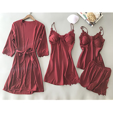 4 Pieces Women Pajamas Sets Satin Sleepwear Silk Nightwear Pyjama Spaghetti Strap Sleep