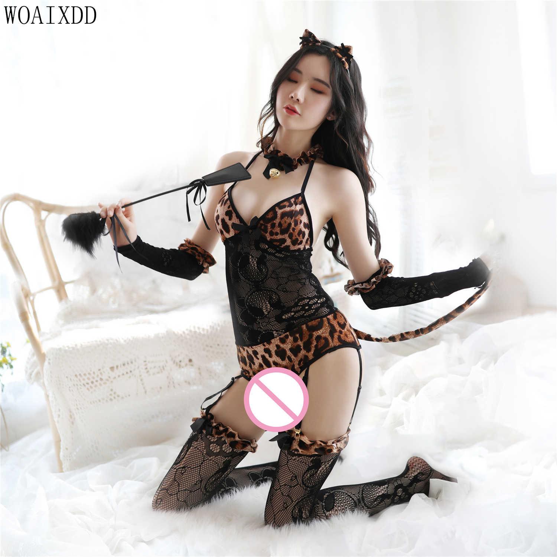 Леопардовое Горячее Сексуальное белье Косплей эротический животный комбинезон с принтом кошка с ушками комбинезон боди Женщина-кошка Ролевой костюм фетиш