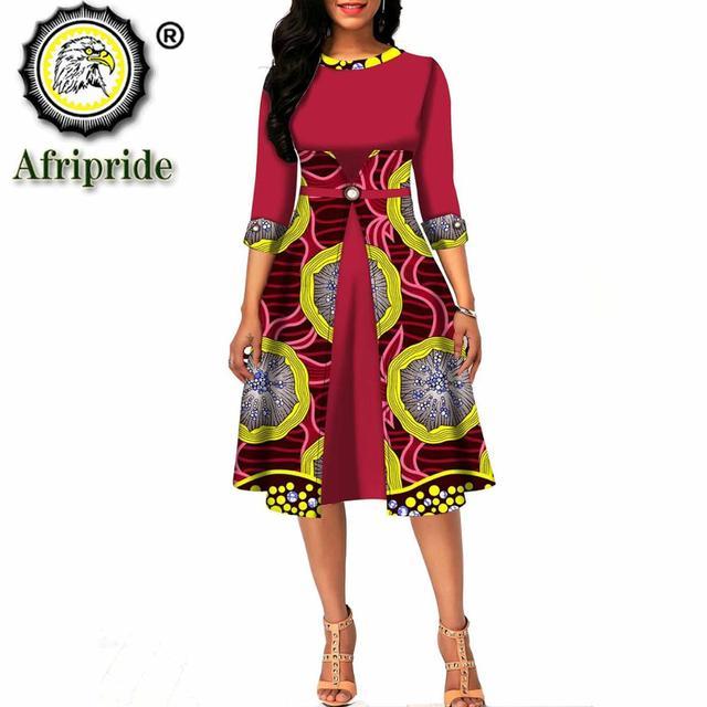 African dresses for women ankara print o-neck half sleeve knee length dress dashiki wear floral a-line dress AFRIPRIDE S1925107