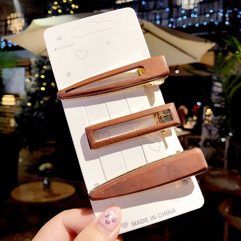 3pcs/Set New Women Vintage Wood Geometric Hairpins Sweet Colorful Hair Clips Barrettes Elegant Headband Fashion Hair Accessories