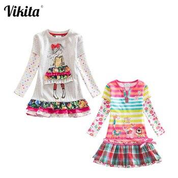 цена на VIKITA Dresses for Girls Cotton Kids Flower Print Dress Children Baby Dresses Long Sleeve O-neck Girls Dresses 2pc/lot F5061 Mix