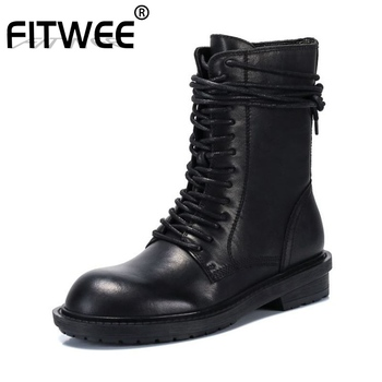 FITWEE Women Genuine Leather Motorcycle Boots Round Toe Outdoor Lace Up Fashion Daily Casual Shoes Woman Footwear Size 34-39