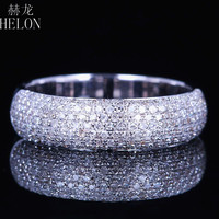 HELON 925 Sterling Silver 0.55ct Natural Real Diamonds Anniversary Band Unisex Costume Engagement Wedding Diamonds Ring Jewelry