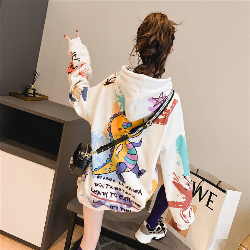 2020 Kawaii Harajuku Japanese Sweatshirt Women Autumn Dragon Print Hoodies Long Sleeve Pullover Loose Jumper Hoodie Females