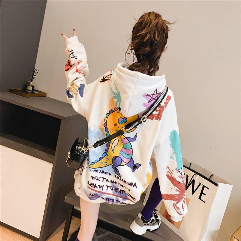 2020 Kawaii Harajuku Japanese Sweatshirt Women Autumn Dragon Print Hoodies Long Sleeve Pullover Loose Jumper Hoodie Females