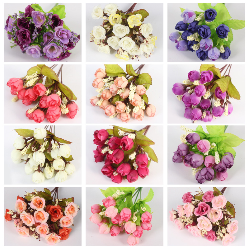 Autumn 15 Heads Silk Roses Bract Artificial Flower For Wedding And Christmas Decor 1